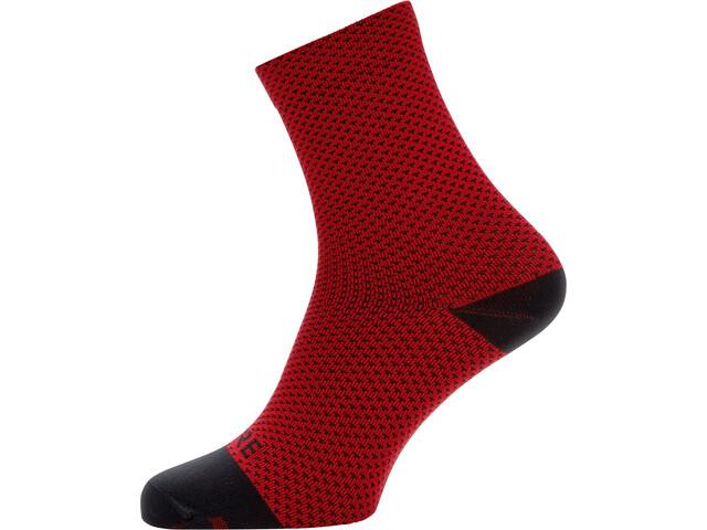 GORE WEAR C3 Dot Chaussettes mi-hautes, red/black